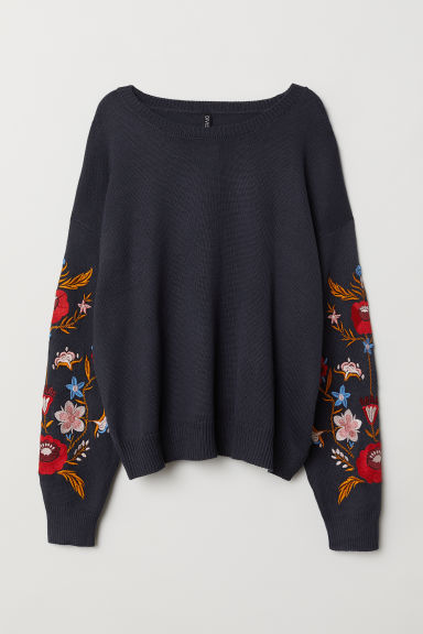 H&M+ Sweater with Embroidery - Dark blue/flowers - Ladies | H&M US