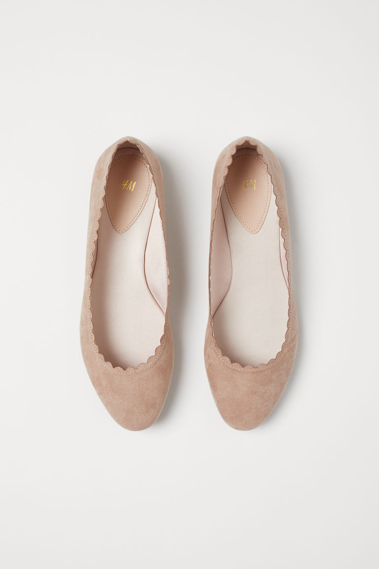 Scallop-edged Ballet Flats - Dusty rose - Ladies | H&M US