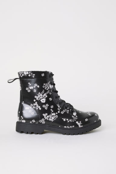 Fleece-lined boots - Black/Floral -  | H&M