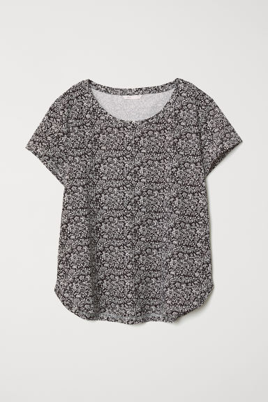 Cotton T-shirt - Black/White floral - Ladies | H&M CN