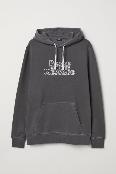 Text-print hooded top - Dark grey - Men | H&M