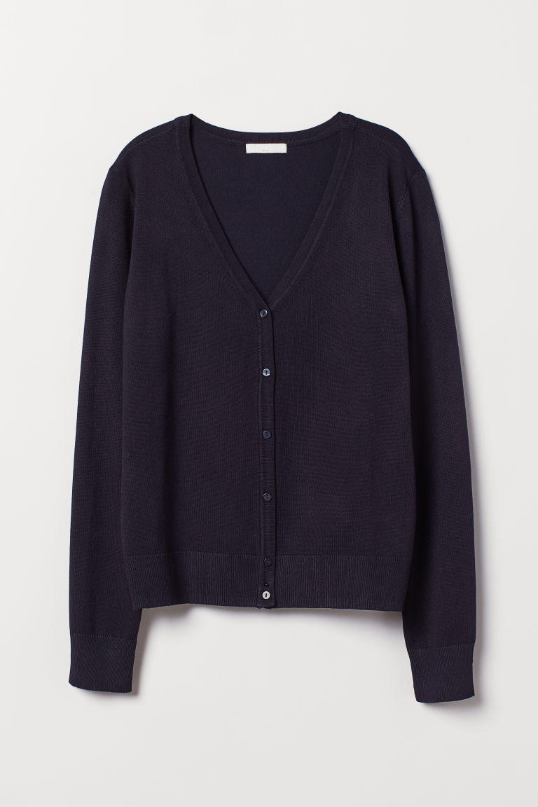 Fine-knit cardigan - Dark blue - Ladies | H&M CN