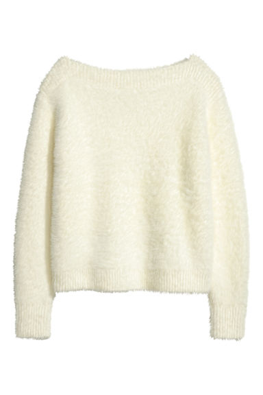 Fluffy jumper - White - Ladies | H&M GB