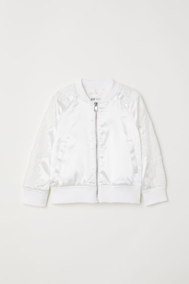 Bomber jacket with lace - White - Kids | H&M