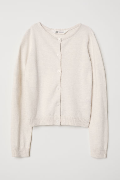 Fine-knit cardigan - White marl - Kids | H&M