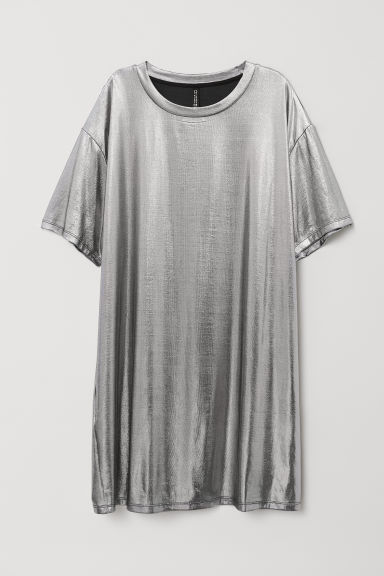 Coated T-shirt dress - Silver-coloured/Metallic -  | H&M