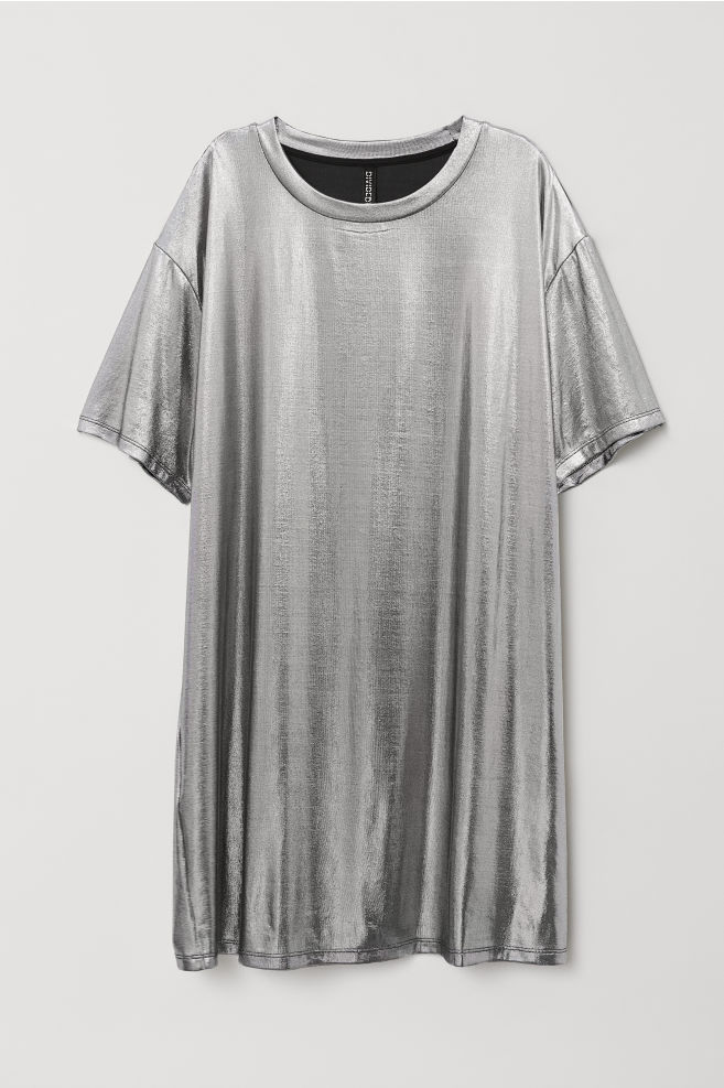 ... Coated T-shirt Dress - Silver-colored metallic - Ladies  362c37827