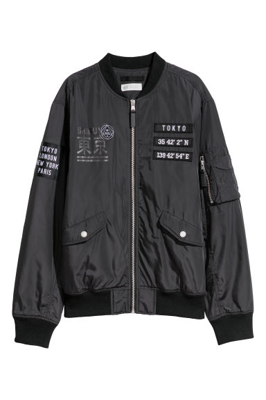 Bomber jacket with appliqués - Black -  | H&M CN