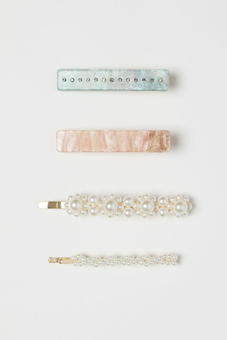 4-pack hair clips - Gold-coloured/White - Ladies | H&M GB