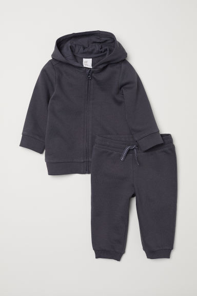 Hooded jacket and joggers - Dark grey - Kids | H&M