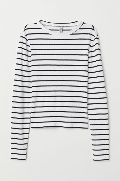 Ribbed Top - White/striped -  | H&M US