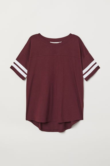 T-shirt with stripes - Burgundy - Ladies | H&M