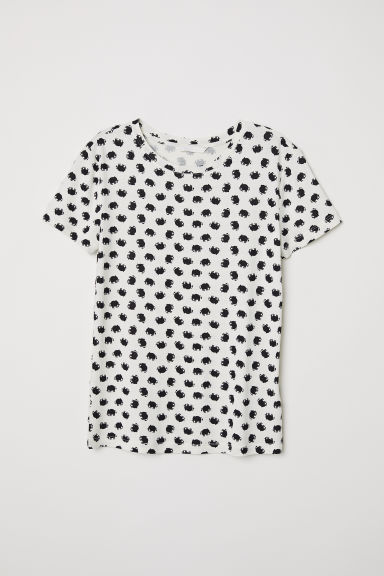 Patterned jersey top - Natural white/Elephants -  | H&M CN