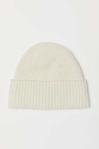 Ribbed cashmere hat - Natural white - Men | H&M CN