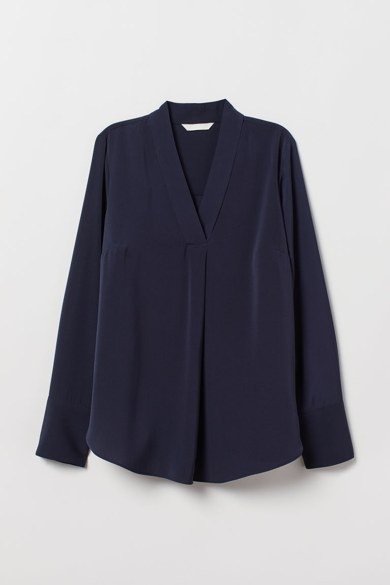 V-neck Blouse - Dark blue - Ladies | H&M US