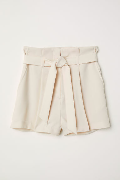 Shorts with a tie belt - Light beige -  | H&M