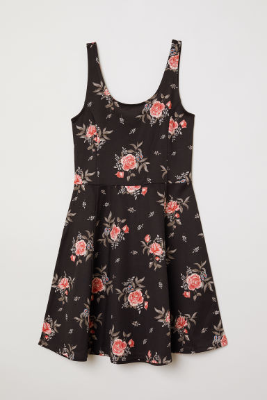 Sleeveless jersey dress - Black/Floral -  | H&M