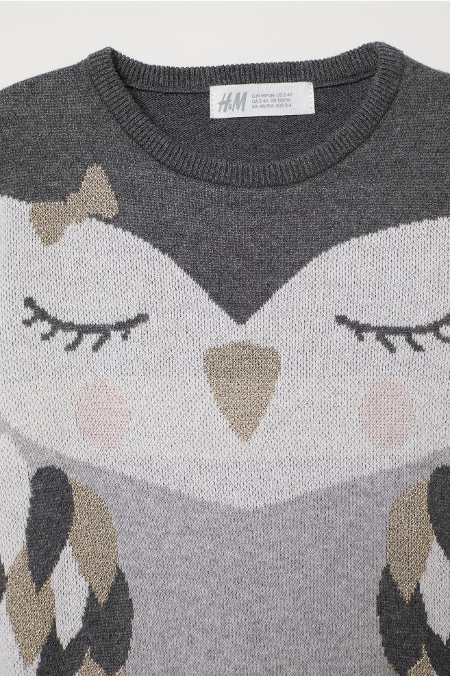 07f05a660c8aa4 Jacquard-knit jumper - Grey marl Owl - Kids
