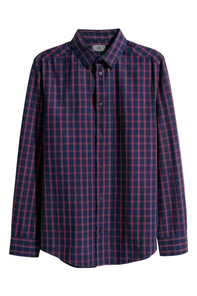 Checked shirt Slim fit - Dark blue/Red checked - Men | H&M CN