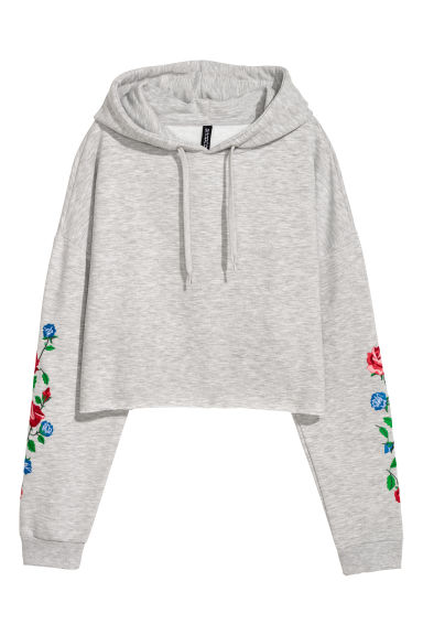 Short hooded top - Light grey marl/Flowers -  | H&M