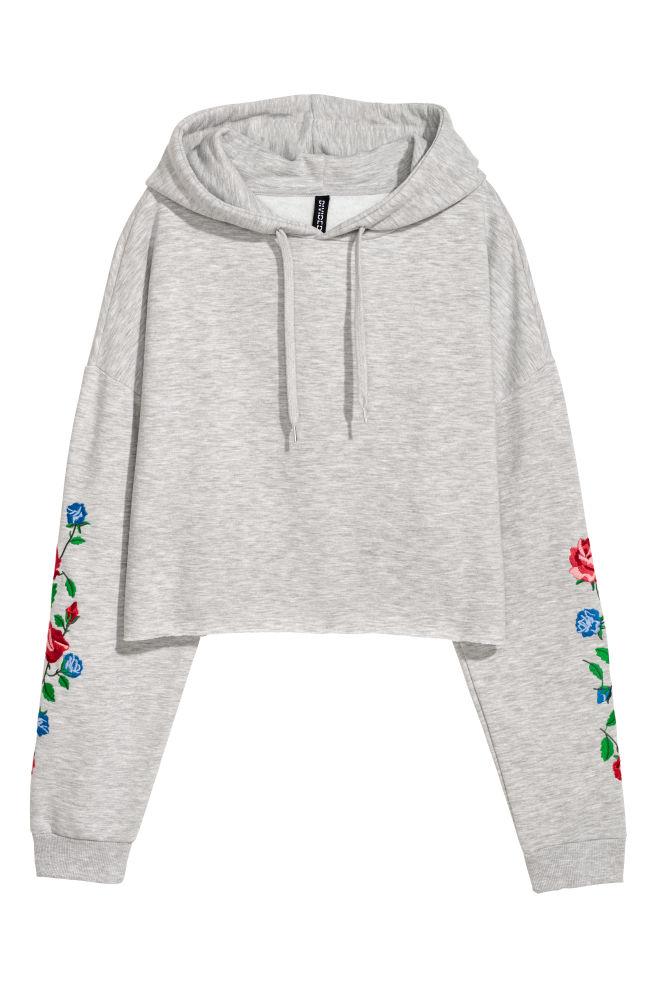 ef3d8478995 Short Hooded Sweatshirt - Light gray melange flowers - Ladies