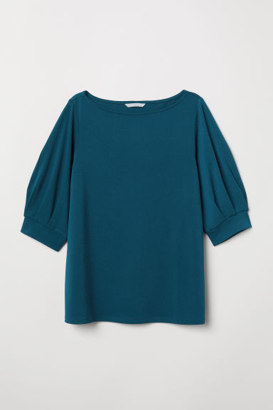 Jersey crêpe top - Petrol - Ladies | H&M CN