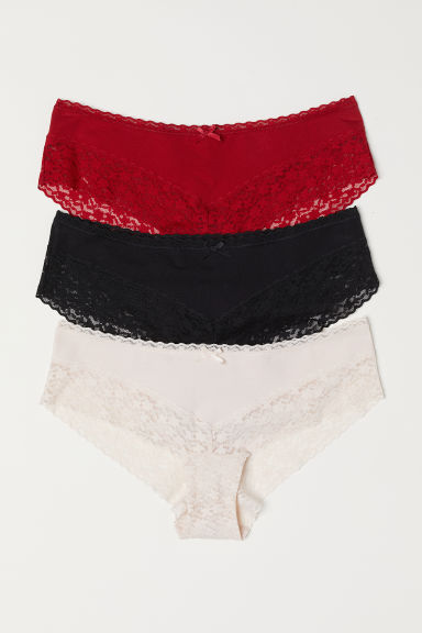 3-pack cotton hipster briefs - Red - Ladies | H&M