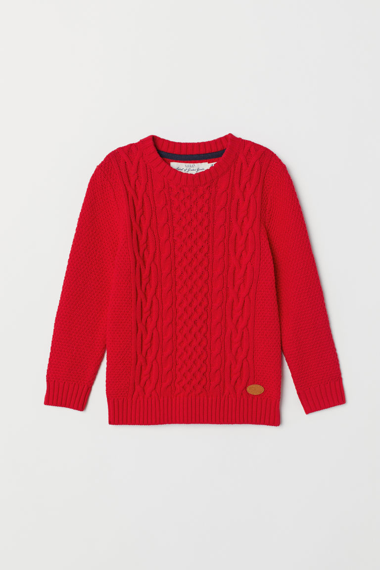 Knitted jumper - Bright red - Kids | H&M CN