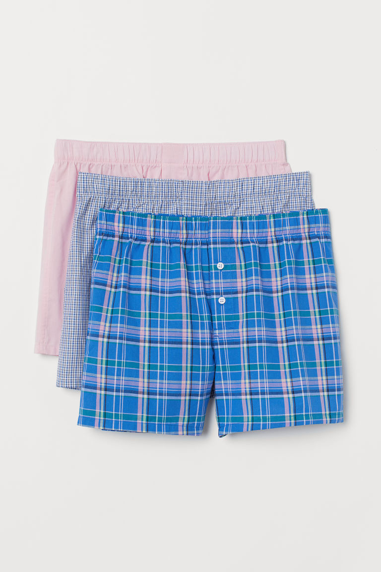3-pack woven boxer shorts - Bright blue/Checked - Men | H&M IN