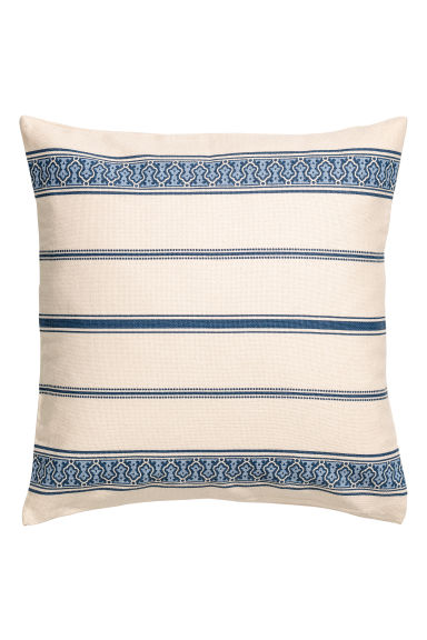 Printed cushion cover - Natural white/Blue -  | H&M GB