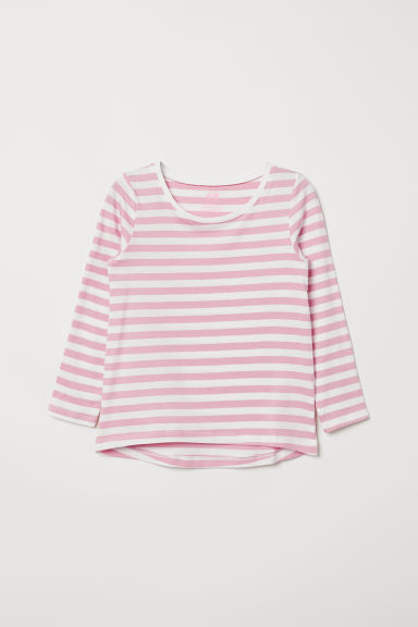 Striped top - Light pink/White striped - Kids | H&M