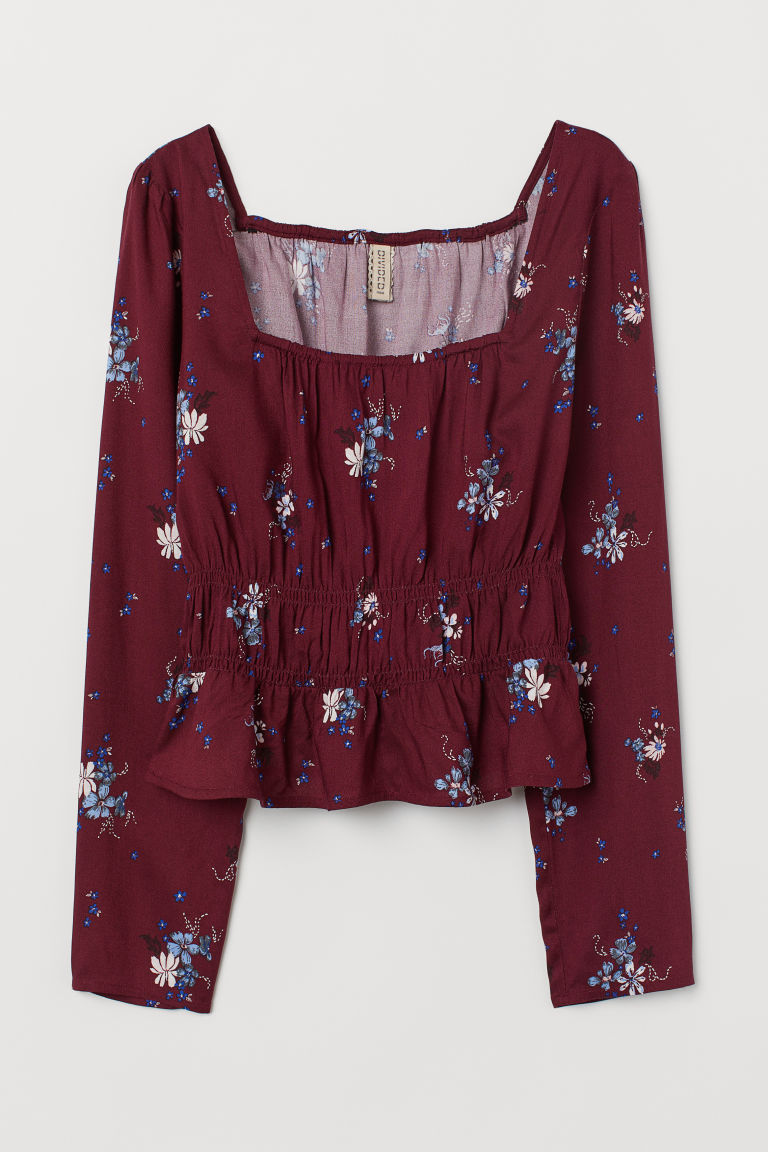 Blouse with smocking - Burgundy/Floral -  | H&M CN