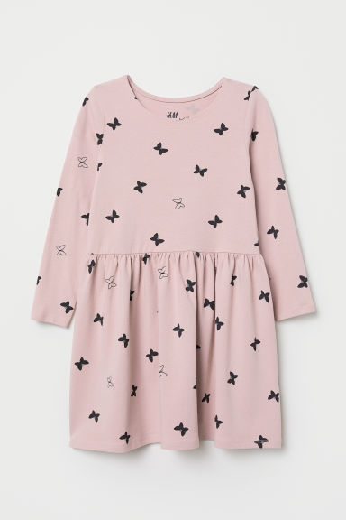 Jersey dress - Light pink/Butterflies - Kids | H&M