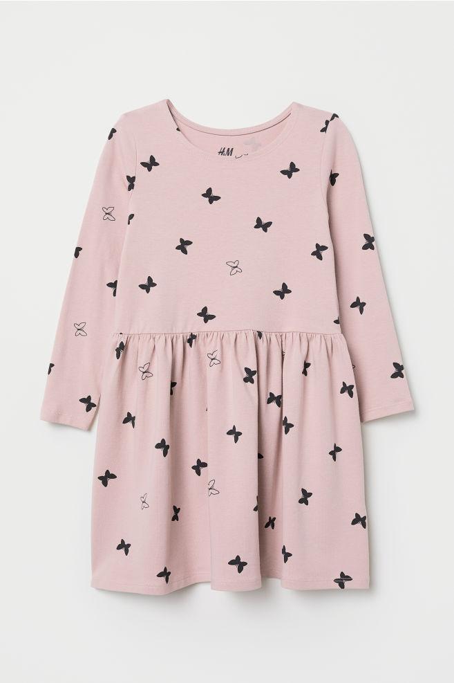 6d675360ee1e ... Trikåklänning - Ljusrosa/Fjärilar - BARN | H&M ...