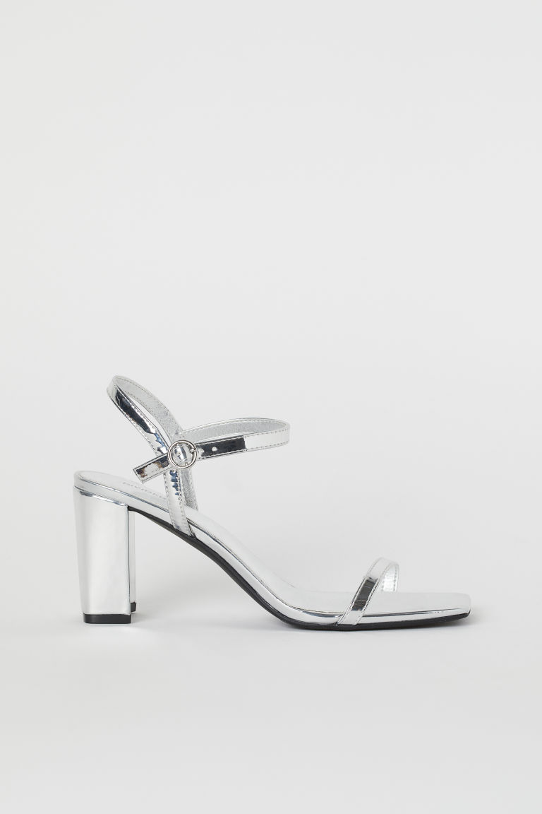 Block-heeled Sandals - Silver-colored - Ladies | H&M US