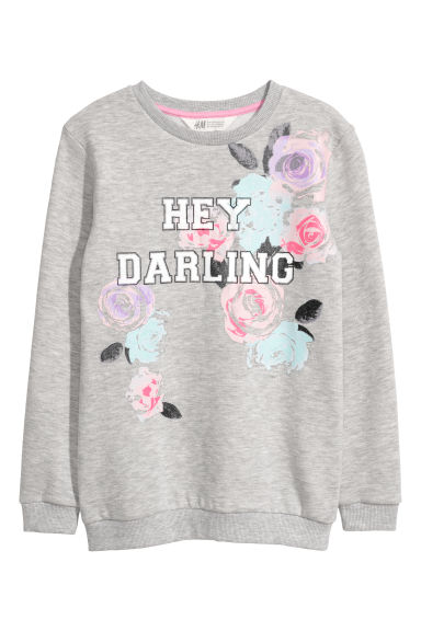 Printed sweatshirt - Light grey/Flowers -  | H&M
