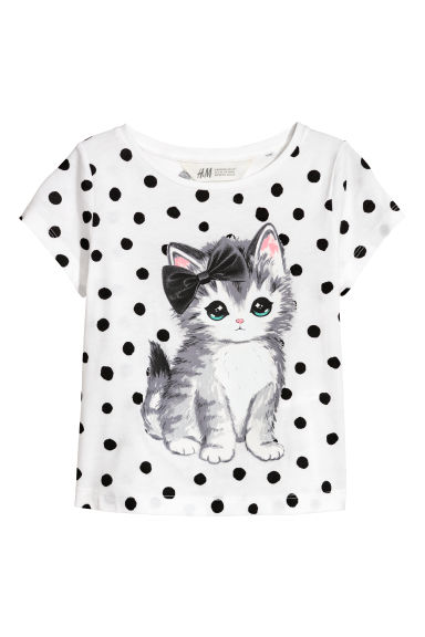 Printed jersey top - White/Cat - Kids | H&M