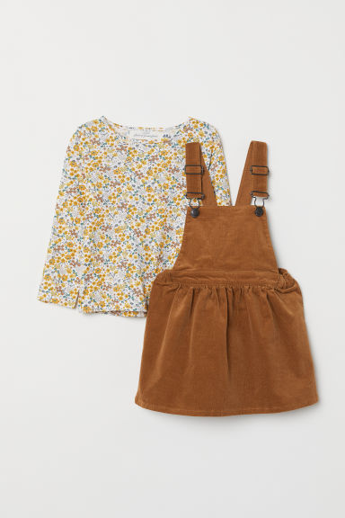 Dungaree dress and top - Light brown - Kids | H&M CN