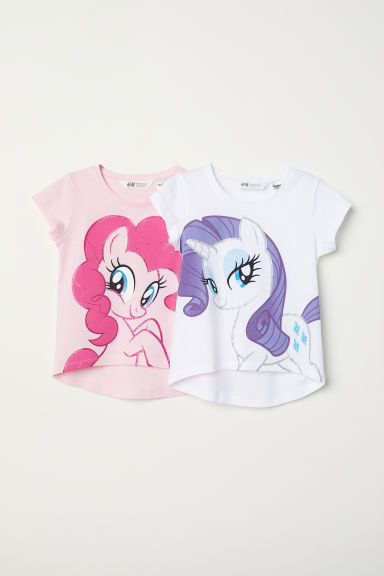 2-pack printed jersey tops - Light pink/My Little Pony - Kids | H&M CN