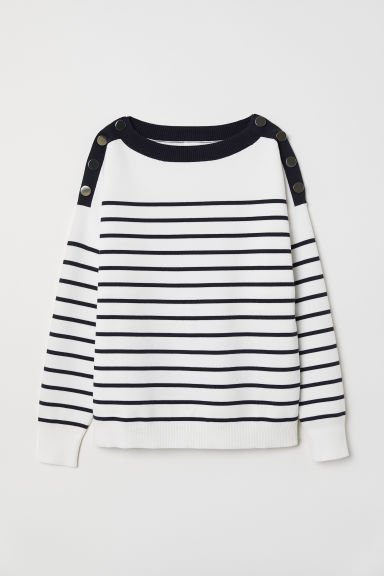 Fine-knit jumper - White/Dark blue striped - Ladies | H&M CN