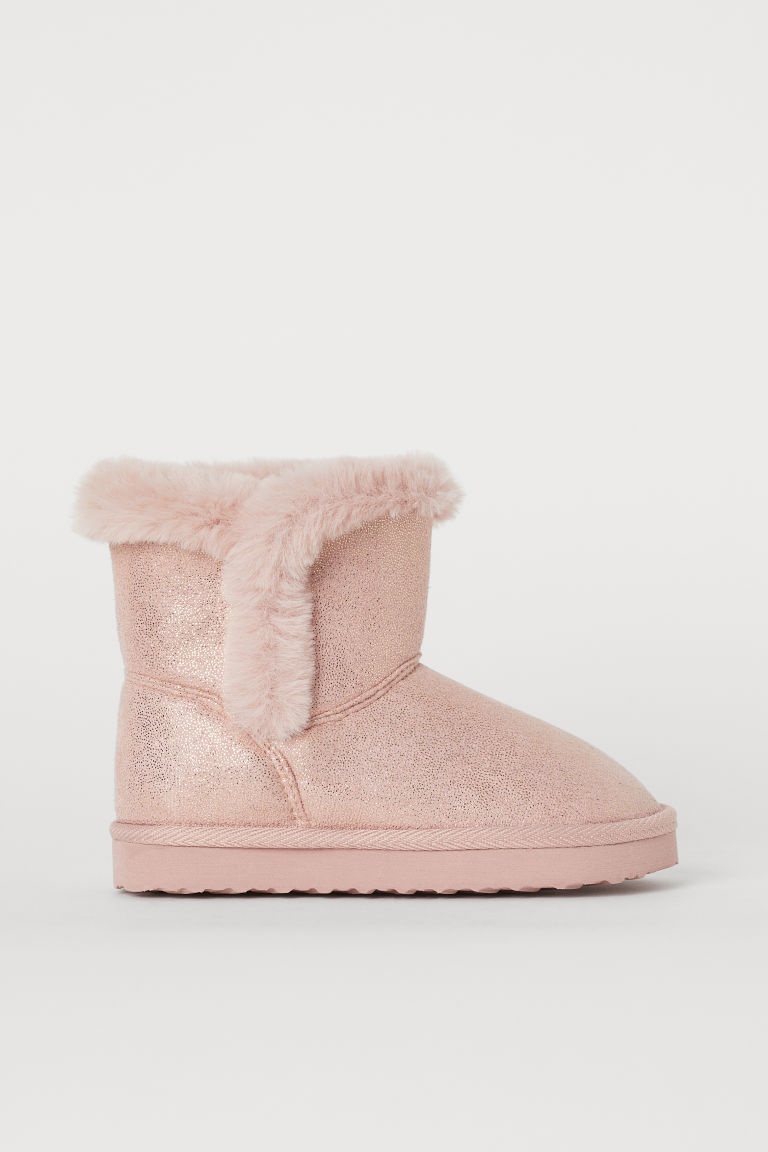 Faux fur-lined boots - Pink/Glittery - Kids | H&M