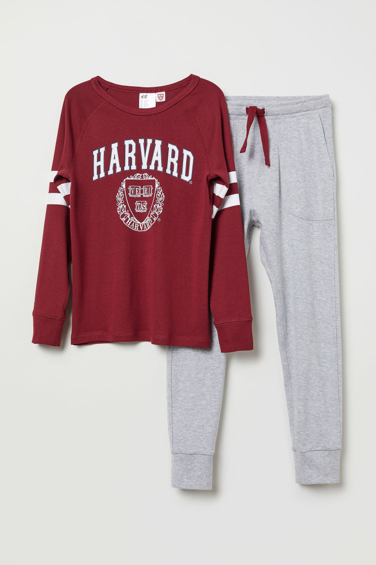 Tricot pyjama - Bordeauxrood/Harvard - KINDEREN | H&M BE