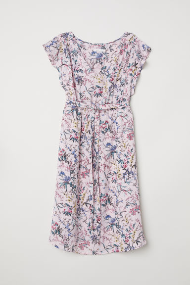 MAMA V-neck dress - Pink/Floral - Ladies | H&M CN
