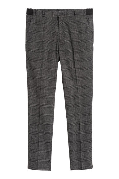 Suit trousers Slim fit - Dark grey/Checked - Men | H&M GB