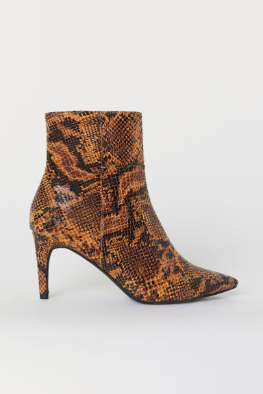 Ankle boots - Yellow/Snakeskin-patterned - Ladies | H&M