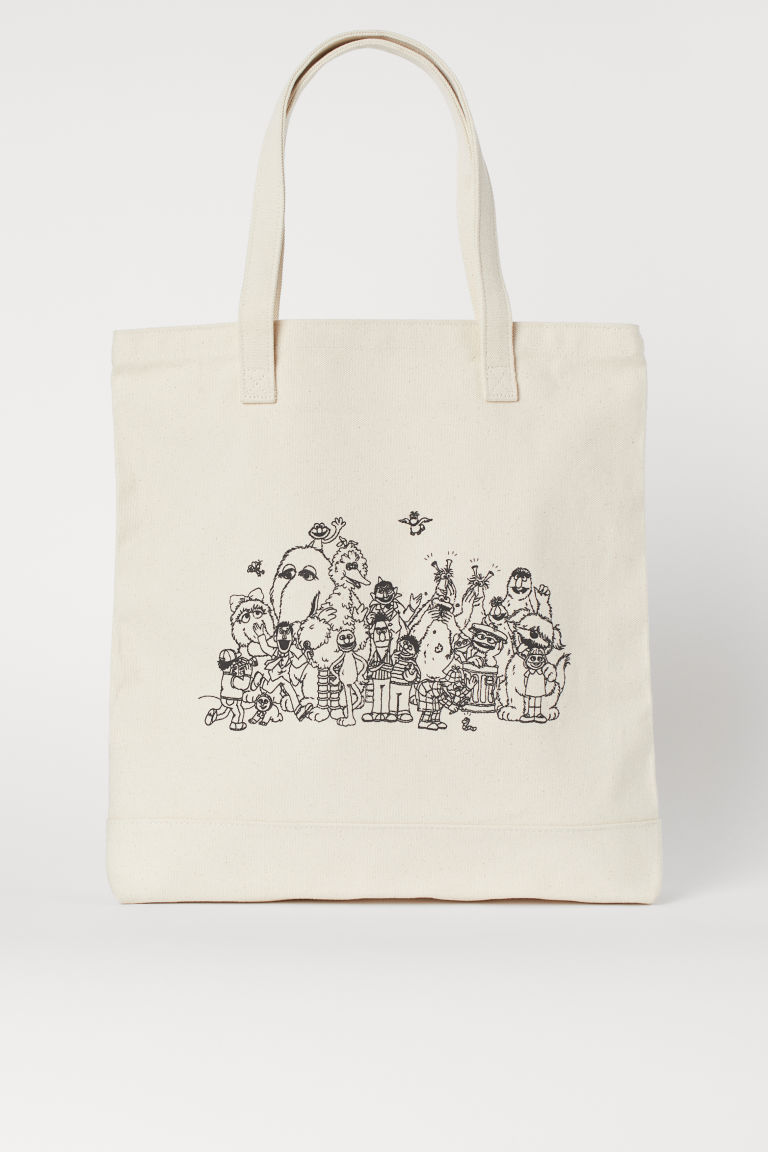 Cotton canvas bag - Natural white/Sesame Street - Men | H&M CN