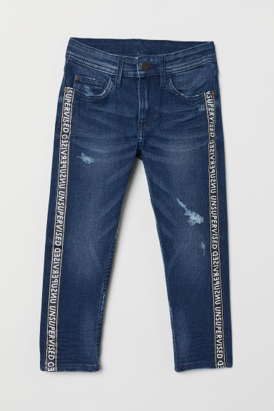 Relaxed Tapered Fit Jeans - Dark denim blue/Side stripes -  | H&M CN