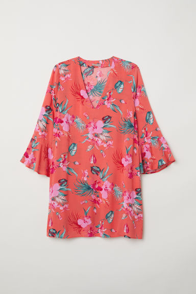 H&M+ Patterned dress - Coral/Patterned - Ladies | H&M CN