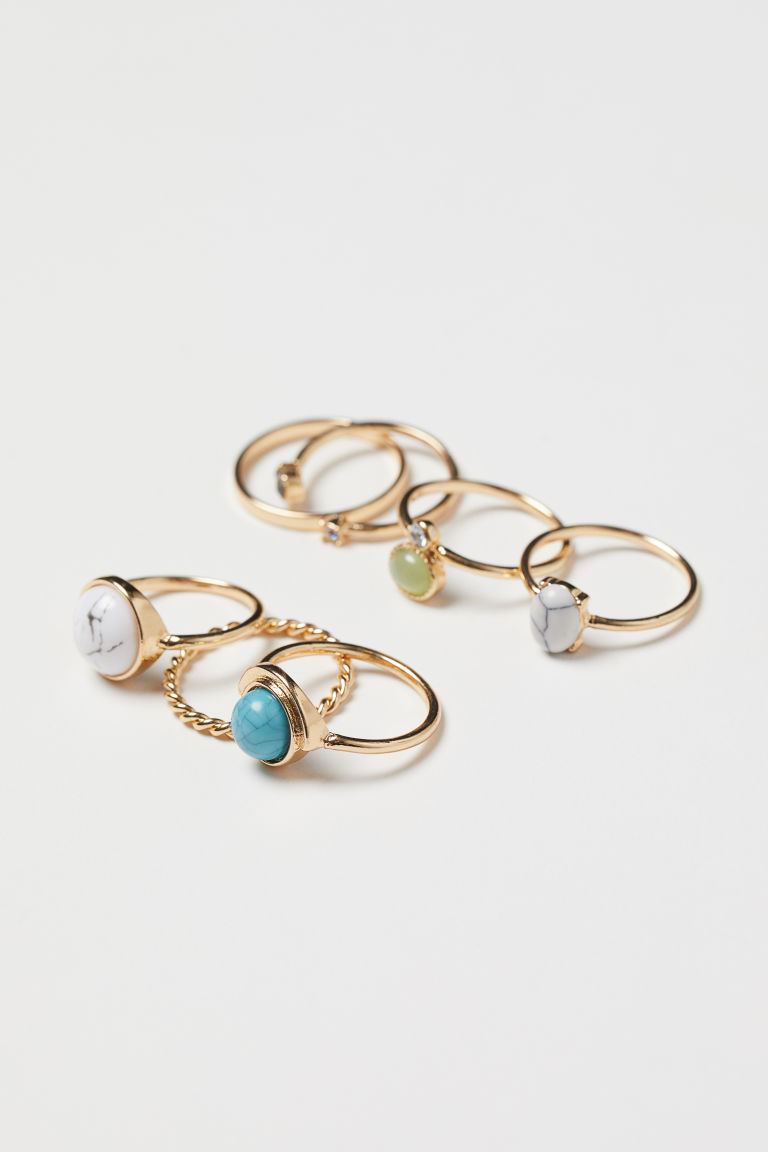 7-pack rings - Gold-coloured - Ladies | H&M IE