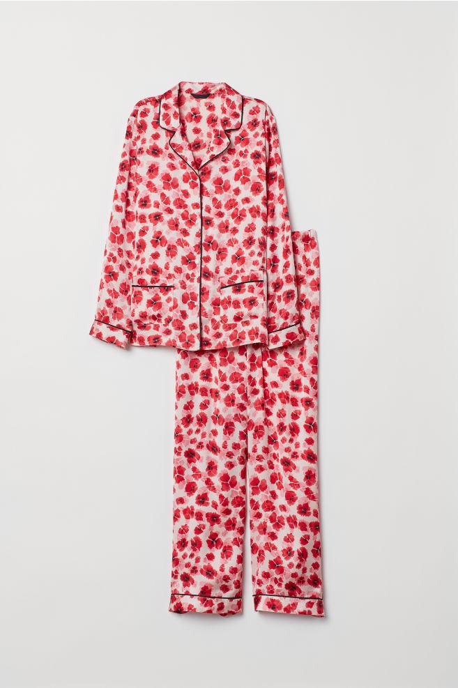 6f8170af Pyjamas med skjorte og bukser - Rød/Blomstret - DAME | H&M ...